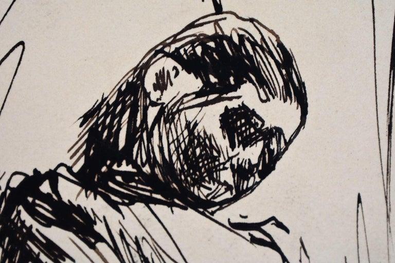 MAX LIEBERMANN 1847-1935 1847 - Berlin - 1935 (German)   Title: Sleeping – Double Portrait Martha Liebermann  Schlafende – Zwei studien von Martha Libermann, ca. 1895-1900  Technique: Stamp Signed Pen and Ink Drawing on Watermarked Wove Paper