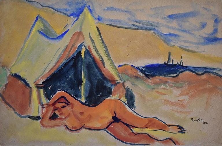 Hermann Max Pechstein Portrait - Reclining Nude on the Beach  Liegender Akt am Strand,