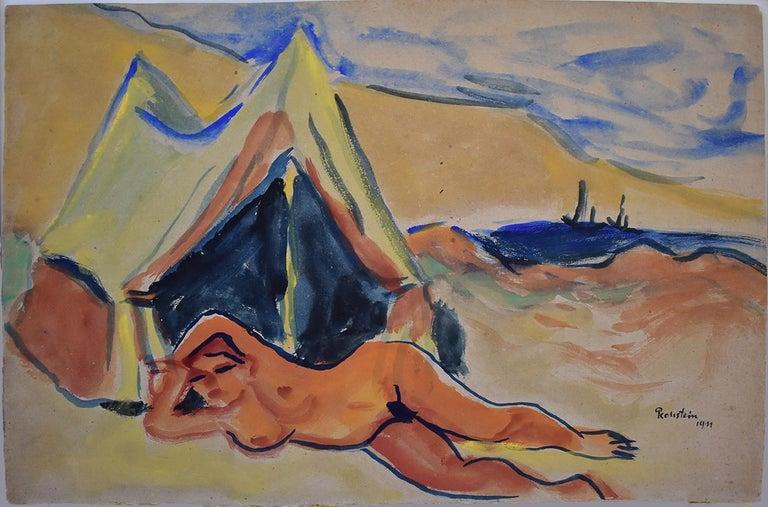 Reclining Nude on the Beach  Liegender Akt am Strand, - Art by Hermann Max Pechstein