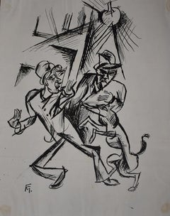 Two Men  Zwei Männer -  Monogrammed India Ink Drawing German Expressionism