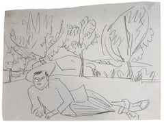 Reclining Young Man  Liegender junger Mann - Drawing German Expressionis