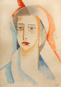 Portrait of a Woman - Hand Signed Watercolour 1920 Israeli Art
