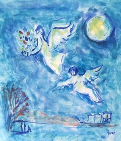 Angels (Homage to Marc Chagall) - Oil Painting Israeli Art Orientalism Arab