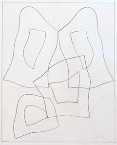 French Form  Forme Francaise - Signed Pencil Drawing Abstract French German
