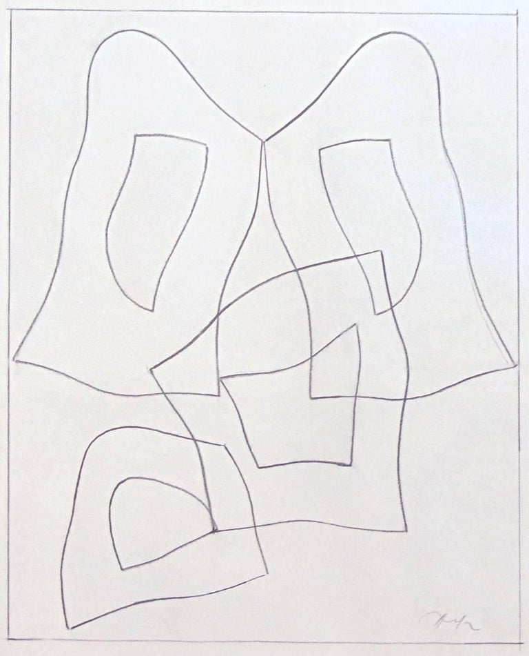 Jean Arp Abstract Drawing -  French Form  Forme Francaise - Signed Pencil Drawing Abstract French German