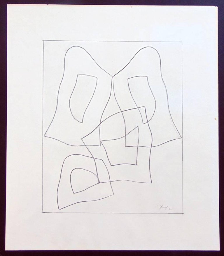 French Form  Forme Francaise - Signed Pencil Drawing Abstract French German - Abstract Geometric Art by Jean Arp