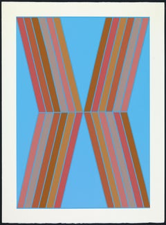 """""""Big Blue"""" Geometric X-Shaped Painting in Sky Blue, Orange, and Pink"""