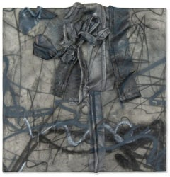 """Untitled No. 1: Black and Grey"" Mixed-Media Painting"