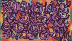 """Slow Motion"", Graffiti and Street Art Painting in Purple and Orange"