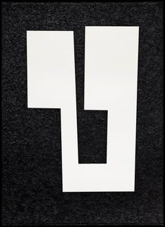 """Uviol"" Minimalist Geometric Black and White Oil Painting"