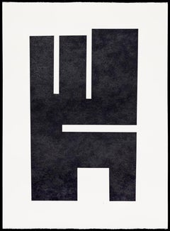 """King"" Contemporary Black and White Minimalist Painting"