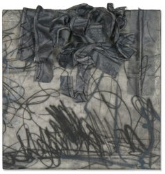 """Untitled No. 3: Black and Grey"" Mixed-Media Encaustic Painting"