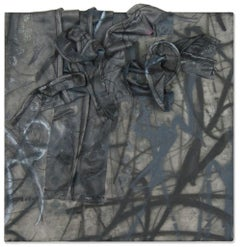 """""""Untitled No. 4: Black and Grey"""" Mixed-Media Painting in Black and Grey"""