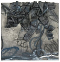 """""""Untitled No. 6: Black and Grey"""" Mixed-Media Painting in Black and Grey"""