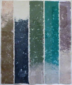 PK-0077, Kenneth Noland Handmade Paper in Purple, Turquoise, and Green