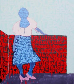 """""""Ocean"""" Blue and Red Text Featuring a Female Figure and Mixed-Media Painting"""