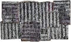 """Doom Lyrics"" Graffiti Text-based Collage Painting in Black and White"