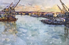 Shipping Cranes, Evening Light