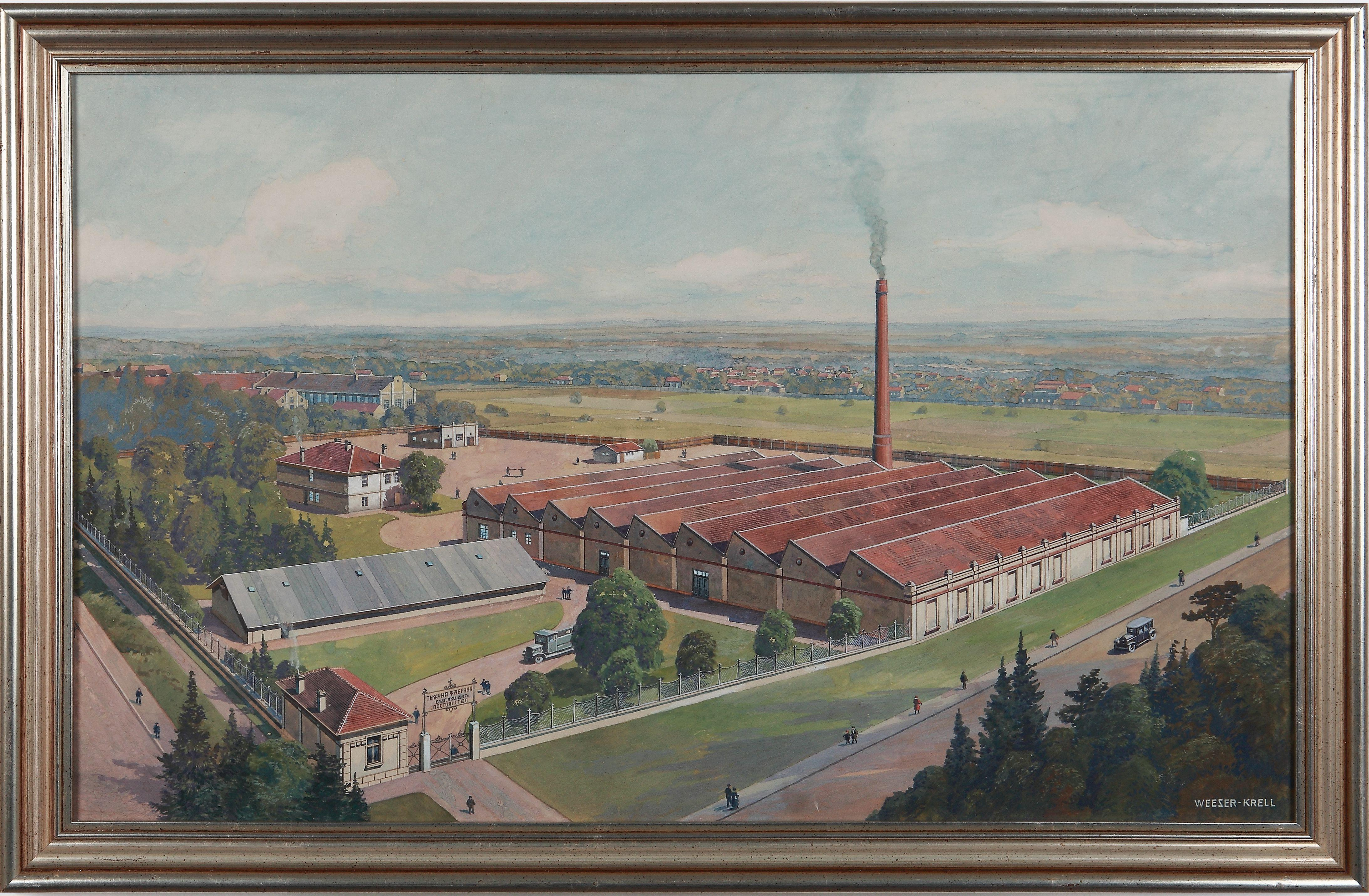 """View of a Bulgarian weaving mill"", Watercolor on Cardboard bei Ferdinand Weeser"
