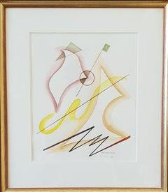 """Heinrich Neuy Watercolor """"démanchér"""", 1986"""