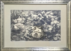 "Drawing on Paper "" Entengruppe in bewegtem Wasser"" by Alexander Koester"