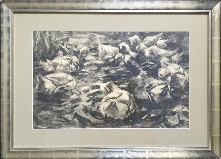 Carbon drawing on Paper. Estate stamp verso. Under glas framed.  Dimensions: 12,6 x 20.47 in ( 32 x 52 cm ), Framed 19.69 x 27.36 in ( 50 x 69,5 cm )   Alexander Koester (1864-1932). He was one of the most important Impressionist animal painters and