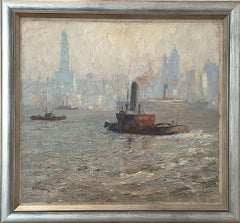 "Oil on Board ""New York Harbor"" by Reinhard W. Heinemann"