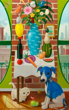 """""""Still Life with Vase and Puppy"""""""