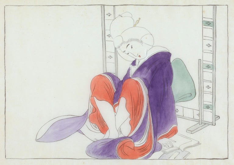 Unknown Nude Painting - Japanese Shunga, Sitting Woman