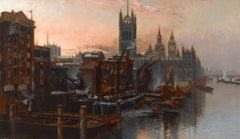 A View of the Houses of Parliament from the Thames, London