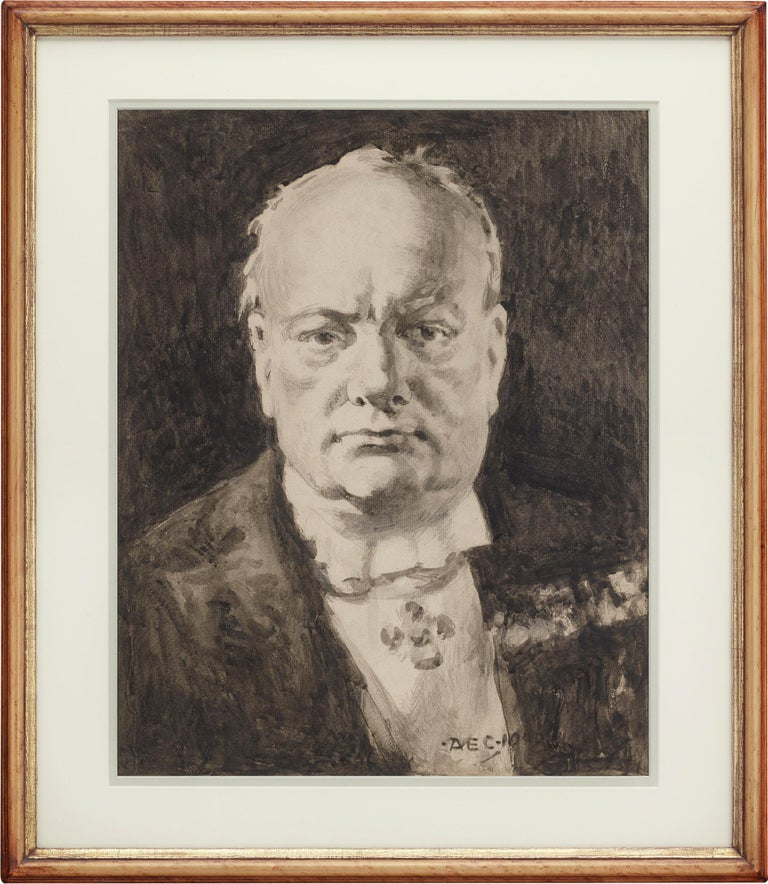 Portrait of Winston Churchill - Other Art Style Art by Alfred Egerton Cooper