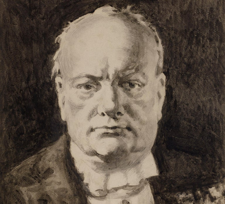 This well-finished portrait study captures the steely visage of the great British prime minister and wartime leader, Winston Churchill. The work was composed from life by the celebrated British portraitist Alfred Egerton Cooper, one of the few