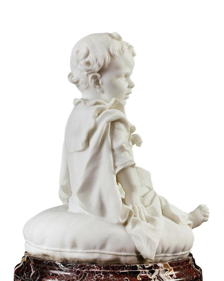 Bambino - Brown Figurative Sculpture by Giulio Monteverde