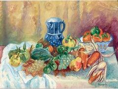 Melon, raisins, poires, maïs et pot bleu (Melon, grapes, pears, corn and blue po