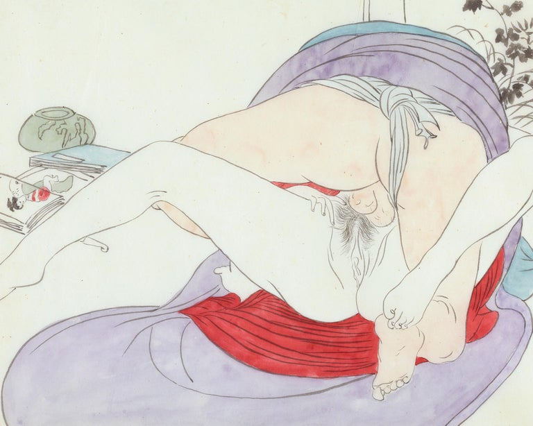 Japanese Shunga, Man and Woman Making Love - Other Art Style Painting by Unknown