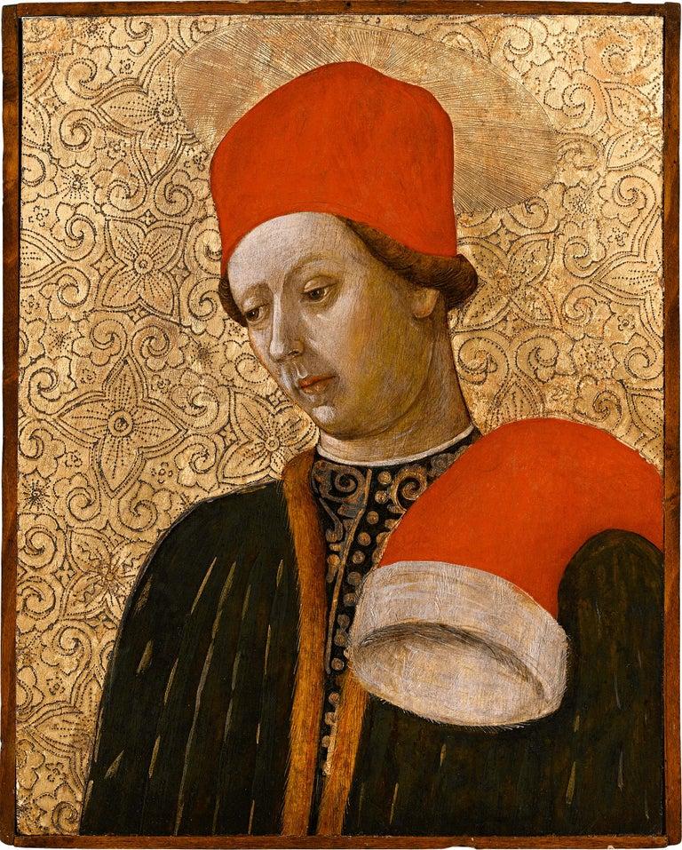 Saint Cosmas and Saint Damian  - Brown Portrait Painting by Bonifacio Bembo