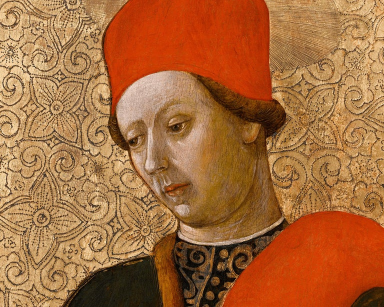 These exceptionally rare early Renaissance panels of Saint Cosmas and Saint Damian are an extraordinary new discovery. It is believed, thanks to the research of art historians Marco Tanzi and Andrea de Marchi, that these represent the missing panels