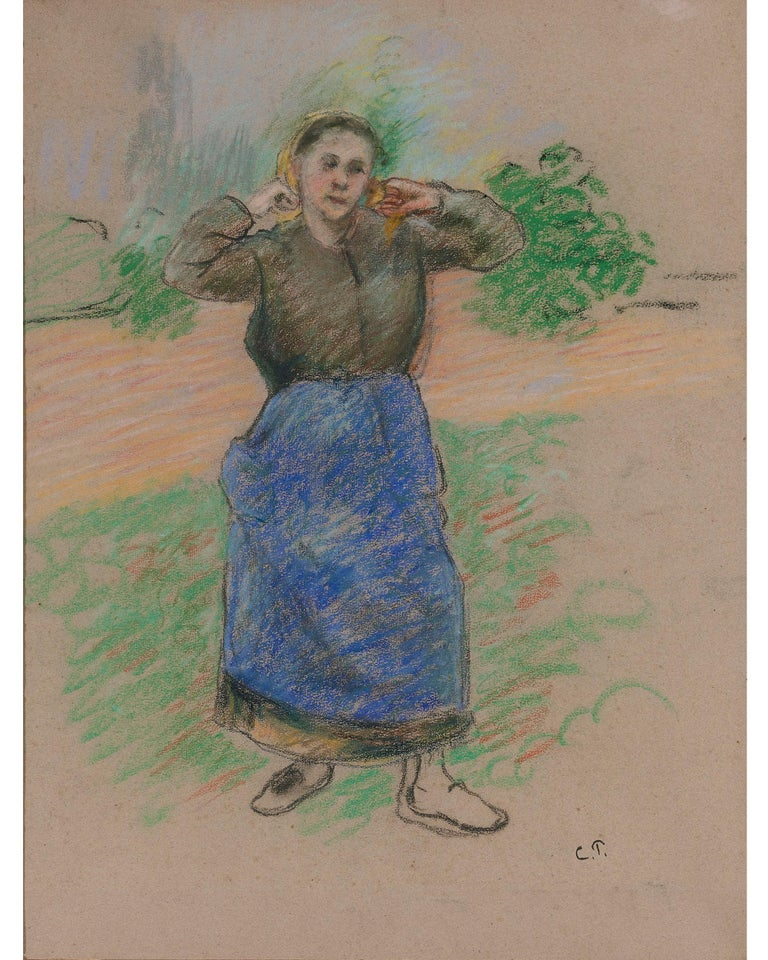 Paysanne Nouant son Foulard (Peasant Arranging her Scarf) - Art by Camille Pissarro