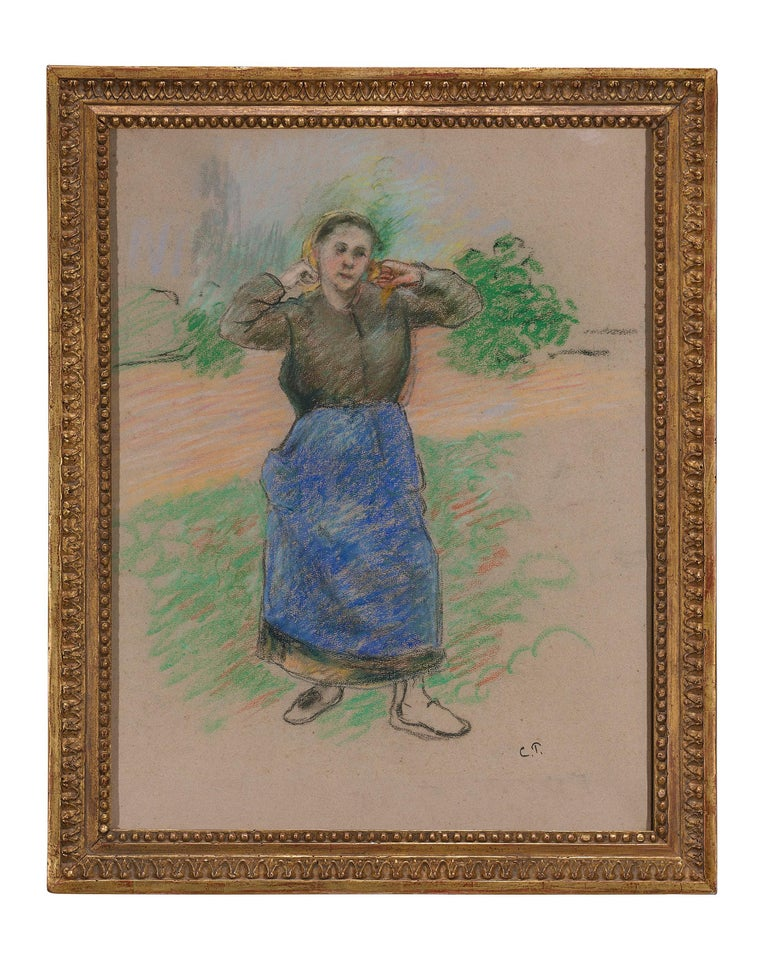 Paysanne Nouant son Foulard (Peasant Arranging her Scarf) - Impressionist Art by Camille Pissarro