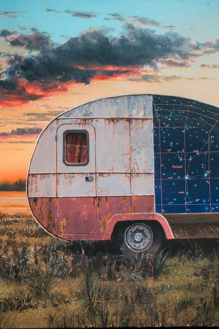 This celestial and camper trailer inspired painting titled