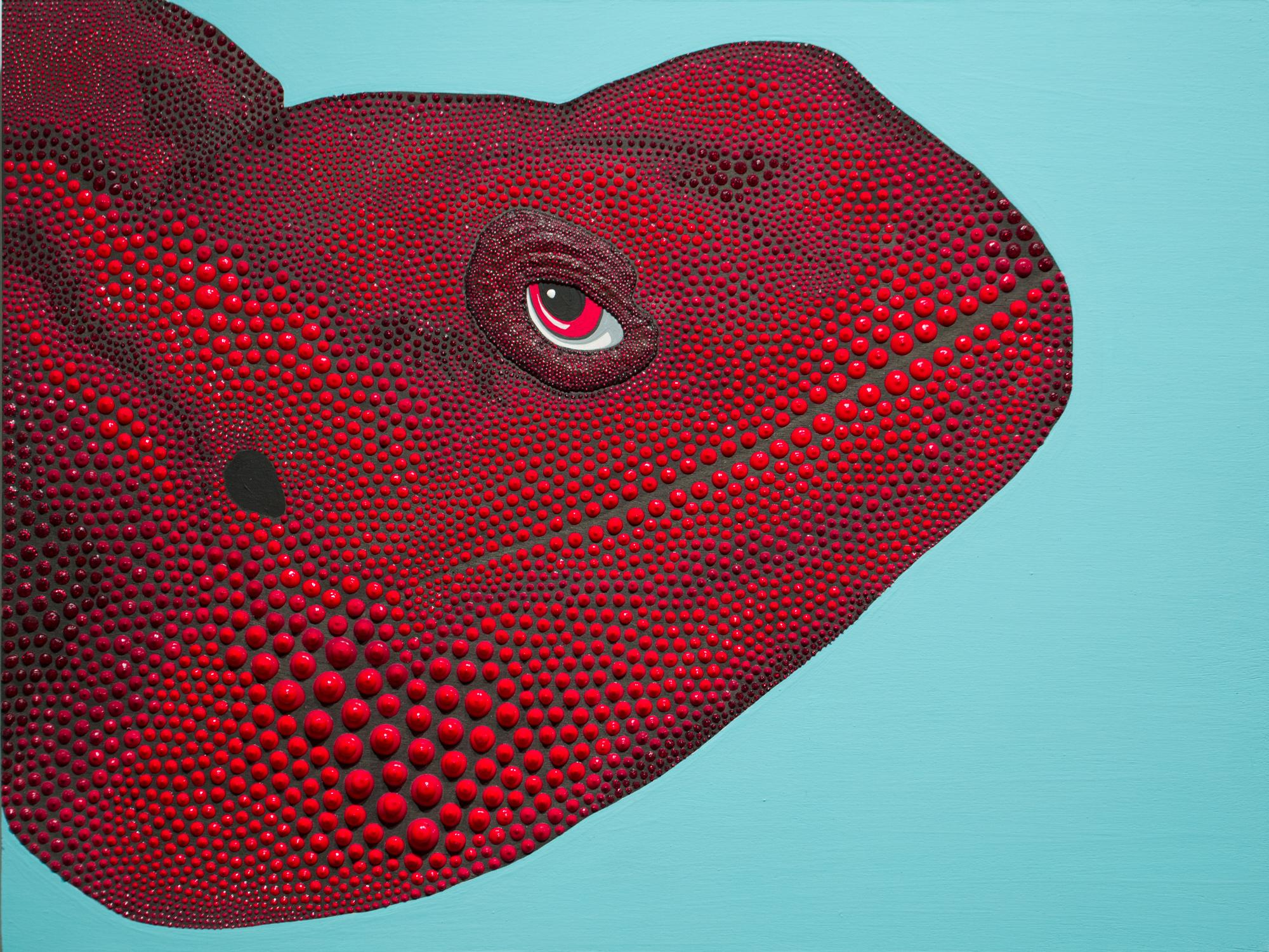 """""""Sage"""", Dimensional Paint, Reptile, Figurative Painting, Acrylic, Puff Paint"""
