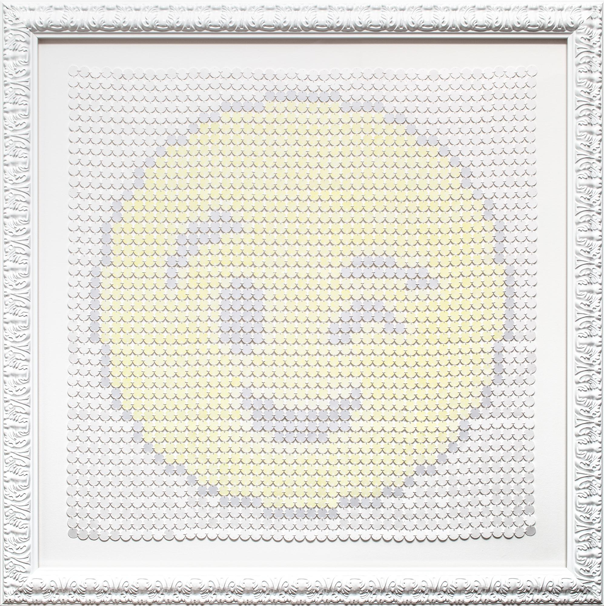 """""""Smiling Underneath"""", Winking Face, Yellow and White, Hand-Stitched"""