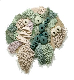 """""""Coralium,"""" Large Recycled Pastel Textile Wall Hanging Fabric Sculpture"""