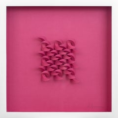 """Cursive in Pink"", Abstract, Paper Sculpture, Wall-Hanging, Pink, Fuchsia"