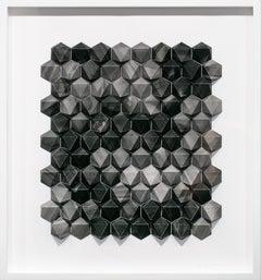 """Ara 272 Golem Something Something"", Geometric black and grey paper sculpture"