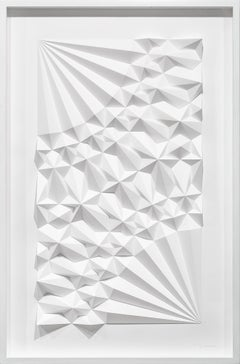 """Ara 241"", White Geometric Paper Sculpture, Wall-Hanging, Abstract"
