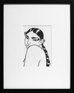"""Gaze"", Black and White, Figurative Drawing, Portrait, Illustration"