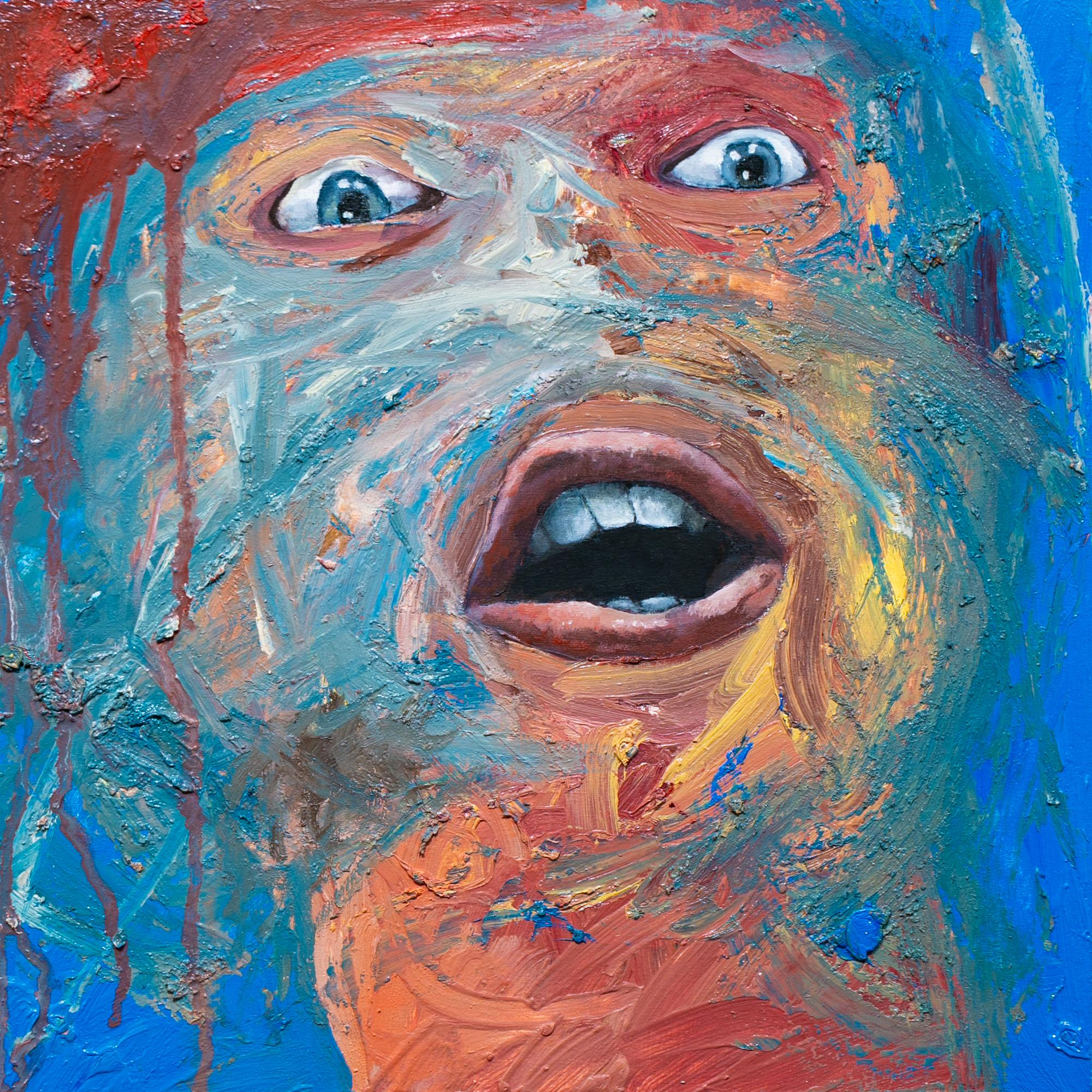 """""""Study for Rally III"""", Oil Painting, Abstracted Face, Colorful"""