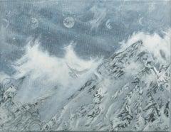"""Time"", Snowy, Mountain, Landscape, Blue and Grey Tones, Snowscape"
