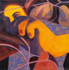 """""""A Tender Thief"""", Acrylic Painting, Warm Tones, Figurative, Bright Colors"""